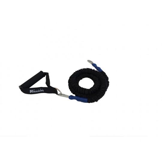 Elastique gainé 300 cm avec poignées - résistance moyenne (bleu)